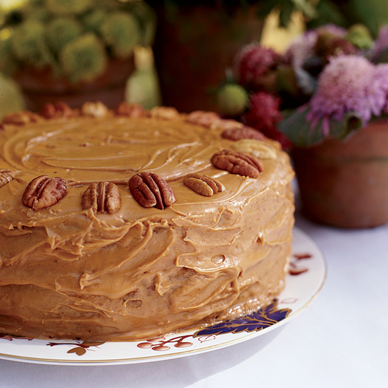 Pecan-Spice Cake with Caramel Frosting