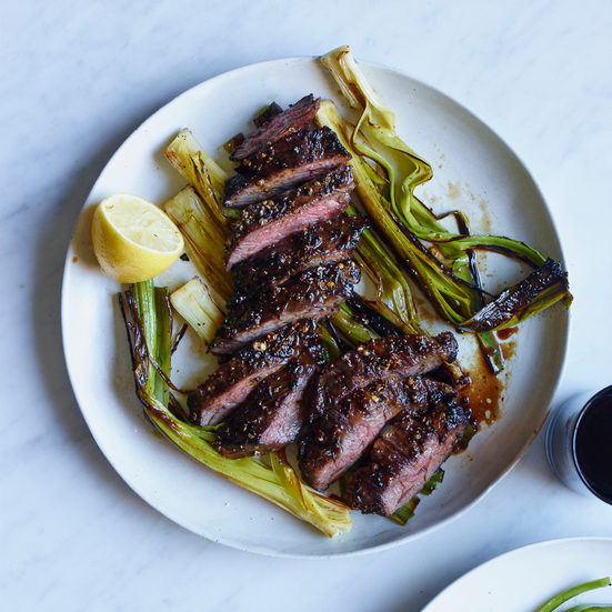 Pepper-Crusted Skirt Steak with Charred Leaks