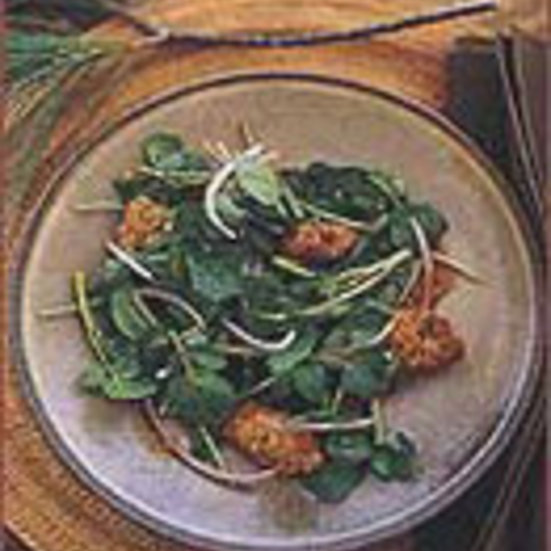 Watercress Salad with Fried Morels