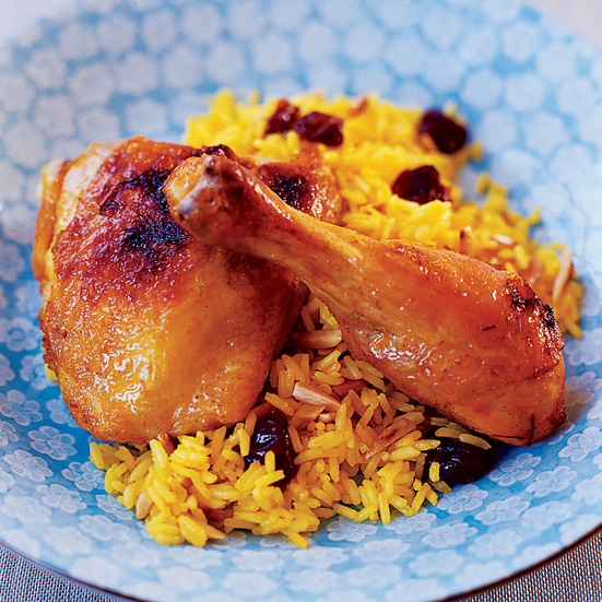 Persian Roasted Chicken with Dried Cherry-Saffron Rice Recipe - Anoosh ...