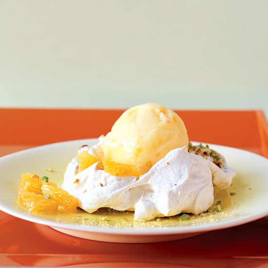Pistachio Pavlovas with Oranges and Blood Orange Sorbet