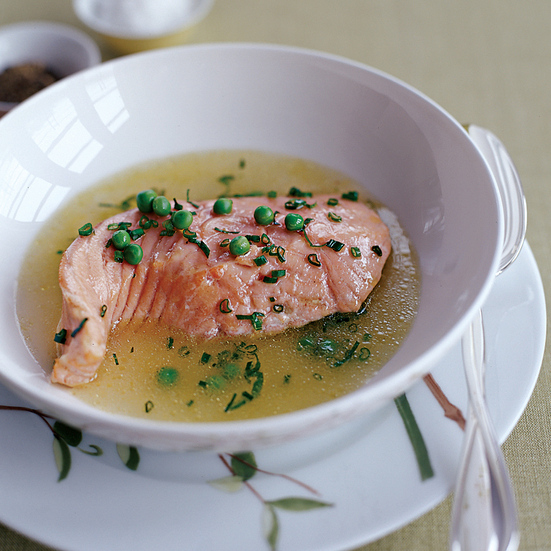 Poached Salmon in a Fresh Herb and Spring Pea Broth