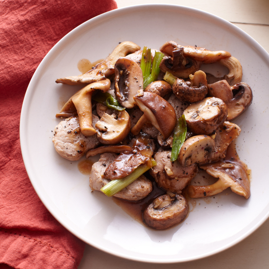 Pork Tenderloin with Wild Mushrooms, Ginger and Scallions
