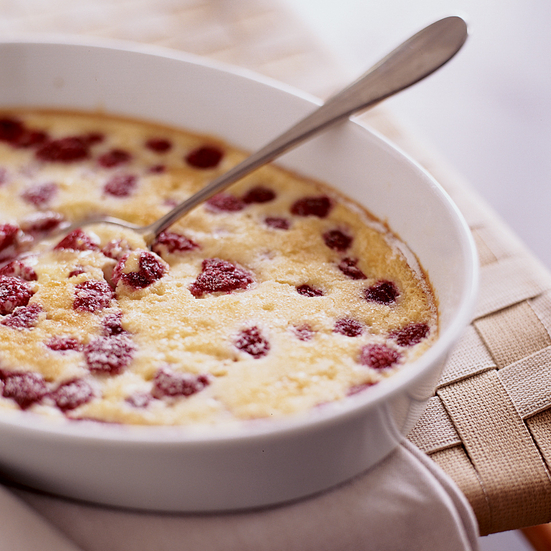 Raspberry Baked Custard