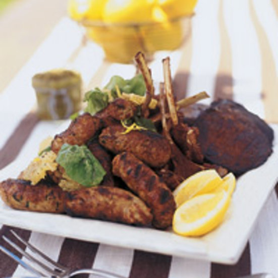 Mixed Grill with Sicilian Lemon Salad and Almond Mint Salsa