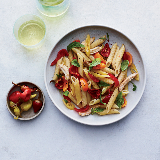 Penne with Chicken and Pickled Peppers