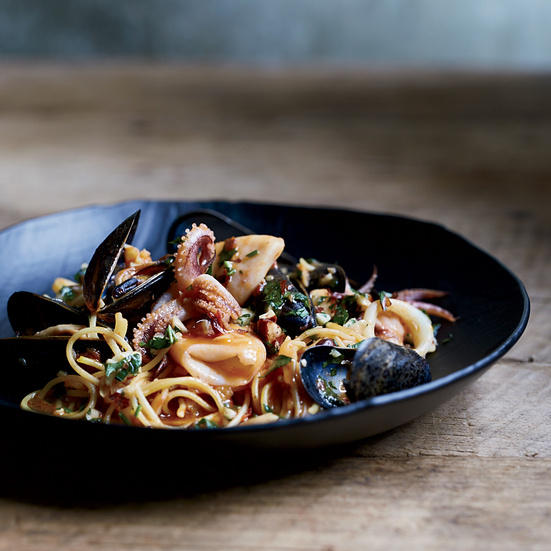 Spicy Fideos with Mussels and Calamari