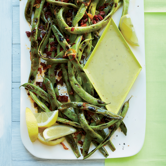 Cast-Iron-Grilled Romano Beans with Garlic Aioli