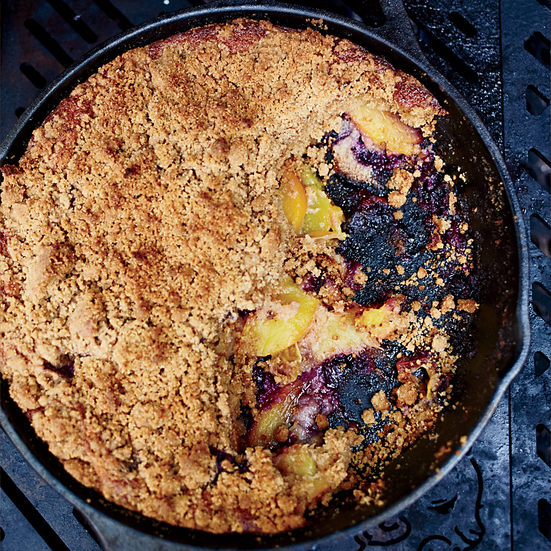Skillet Graham Cake with Peaches and Blueberries