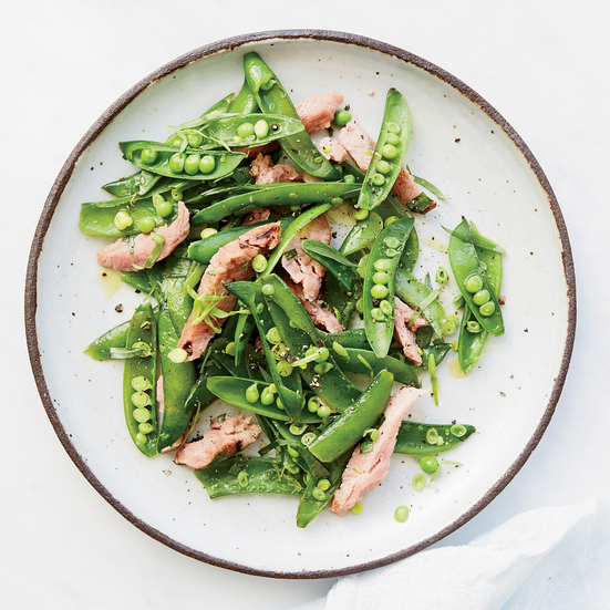 Warm Snap Peas with Ham and Tarragon Butter