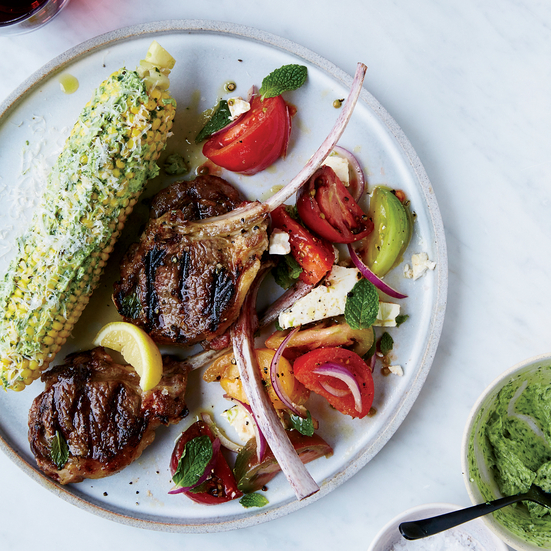 Thin Grilled Lamb Chops with Lemon