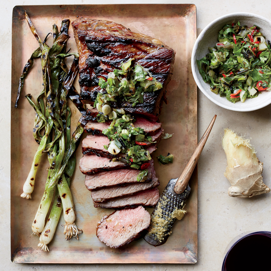 Tri-Tip Steak with Grilled Scallion, Ginger and Cilantro Relish Recipe ...