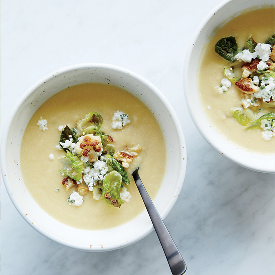 Cauliflower Soup with Herbed Goat Cheese