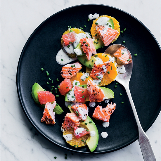 Salmon and Citrus Salad with Poppy Seed Dressing
