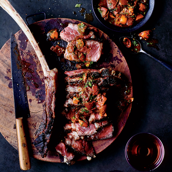 Tomahawk Steaks with Charred Tomato Charmoula