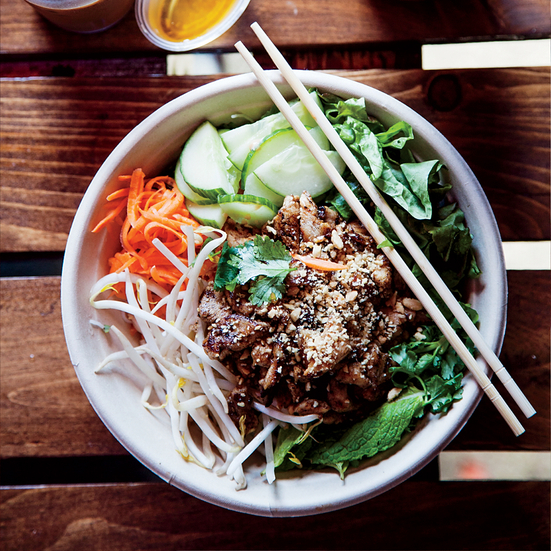 Lemongrass Pork and Rice Noodle Bowl