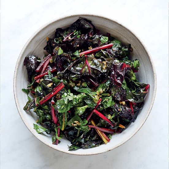 Wilted Swiss Chard With Warm Piccata Vinaigrette