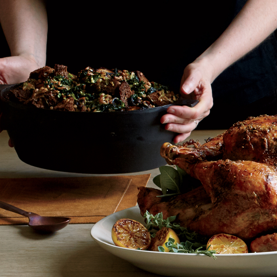 Whole-Grain Stuffing with Mustard Greens, Mushrooms and Fontina