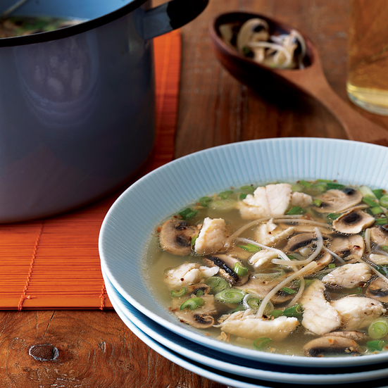 Red Snapper Soup with Fresh Bean Sprouts and Garlic Oil