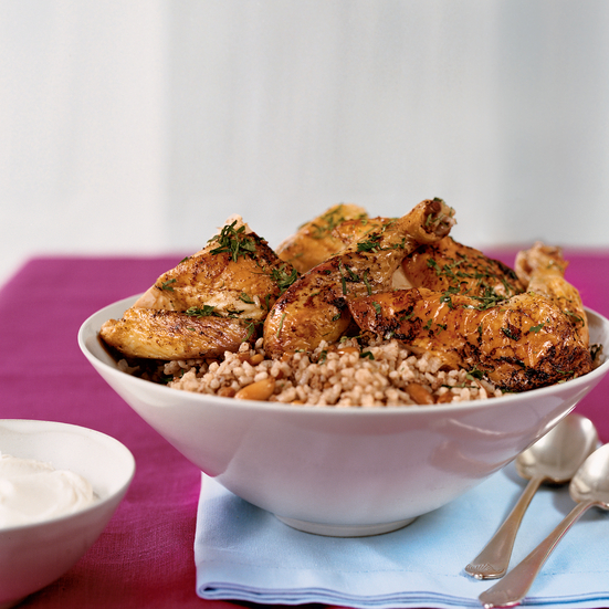 Roast Chickens with Lebanese Rice and Pomegranate Jus
