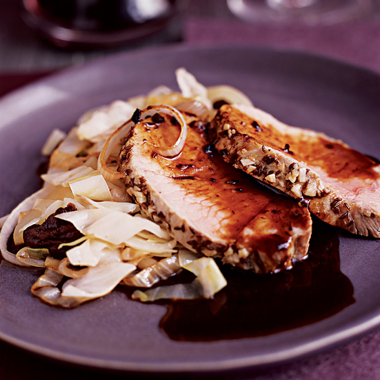 Roast Pork Loin with Armagnac-Prune Sauce