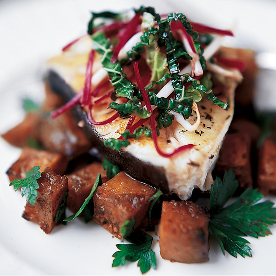 Roasted Halibut with Miso-Glazed Sweet Potatoes