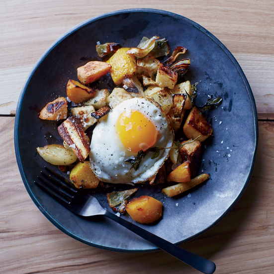 Roasted Root Vegetables with Fried Eggs