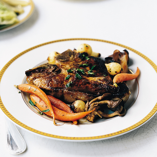 Roasted Veal Chops with Mushrooms and Madeira