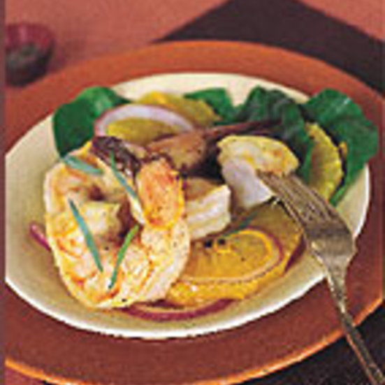 Pan-Roasted Shrimp with Orange, Arugula, and Tarragon