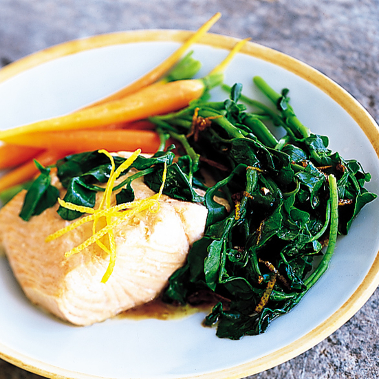Salmon with Wilted Watercress and Lemon-Balsamic Dressing