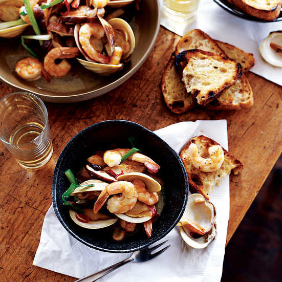 Saucy Clams and Shrimp with Wild Mushrooms
