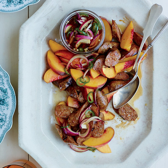 Sausages with Peaches and Pickled Chiles