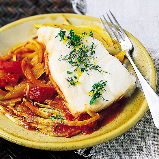 Sea Bass with Fennel, Tomato and Orange