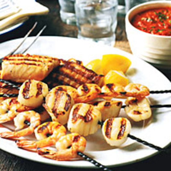 Seafood Mixed Grill with Red-Pepper Sauce