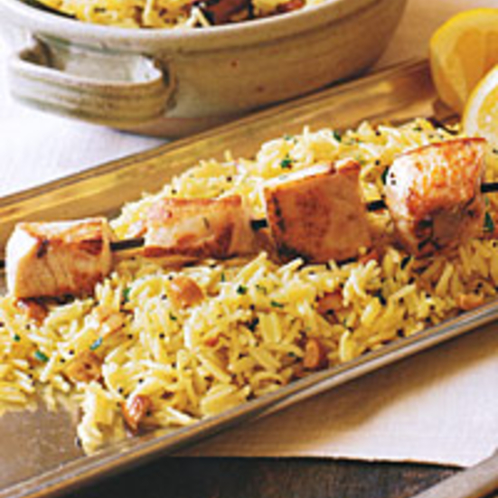 Shark Kabobs over Spiced Cashew Rice