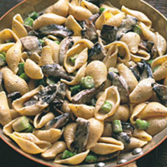 Pasta Shells with Portobello Mushrooms, Asparagus, and Boursin Sauce