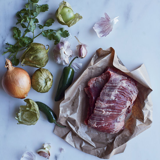 Skirt Steak with Roasted Tomatillo Salsa