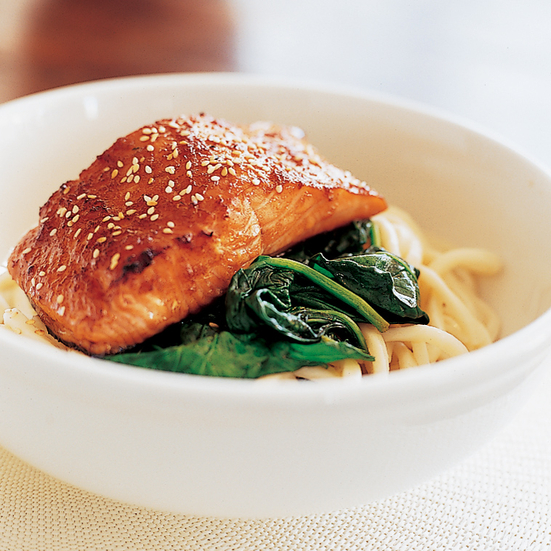 Soy-and-Ginger-Glazed Salmon with Udon Noodles