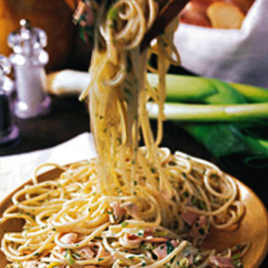 Spaghetti with Smoked Turkey and Leeks