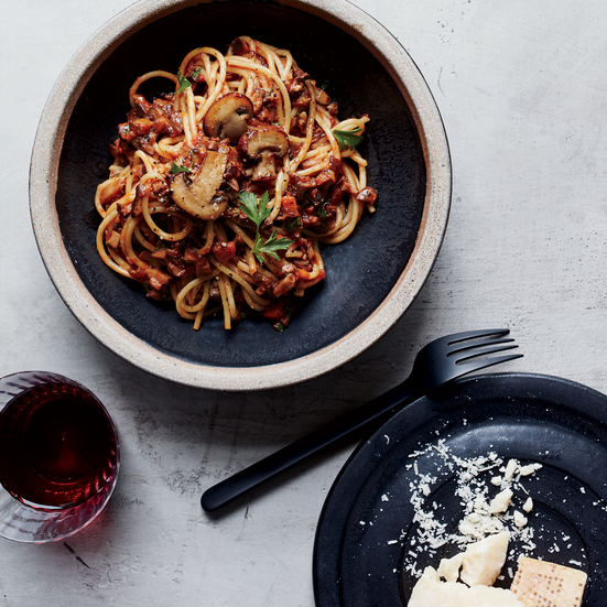 spaghetti with mushroom bolognese tajarin with grilled kale pesto