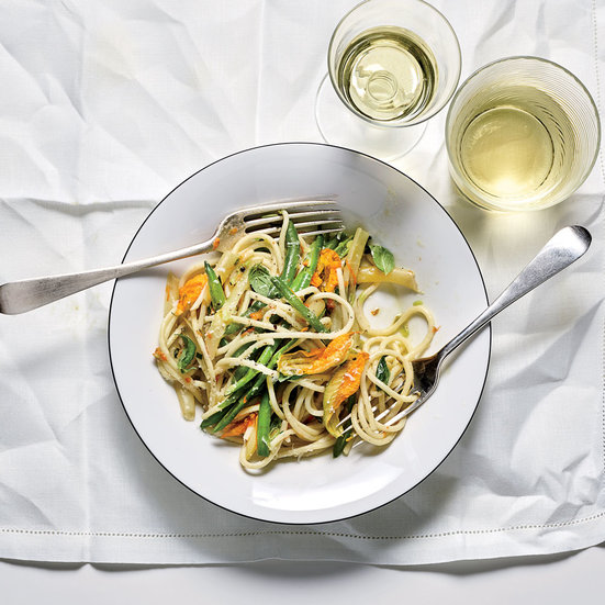 Spaghetti with Squash Blossom Butter and Summer Beans