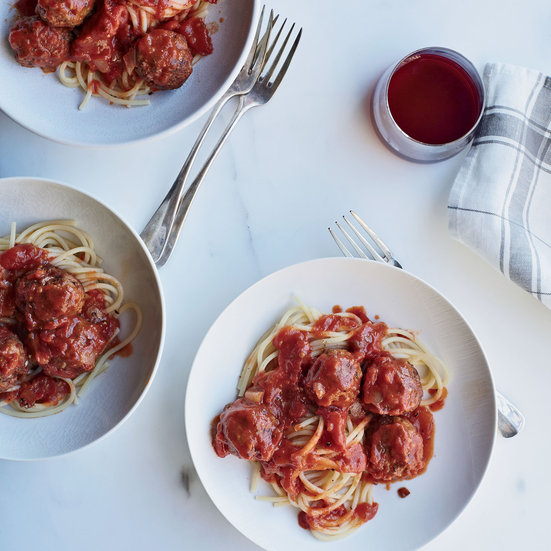 Spaghetti with Veal Meatballs by Andrew Zimmern