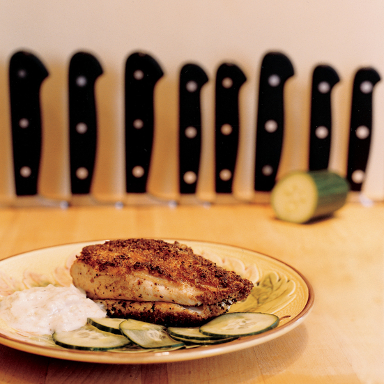 Spice-Crusted Chicken Breasts with Lemon-Cucumber Raita
