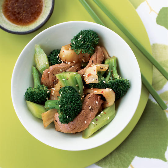 Spicy Beef and Broccoli Salad with Kimchi