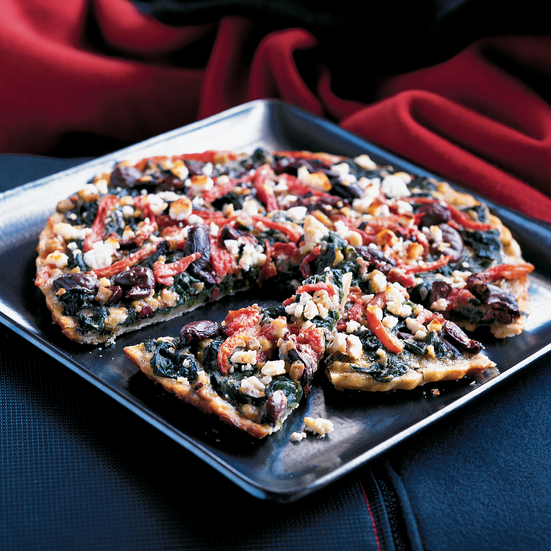 Spinach and Olive Pizza