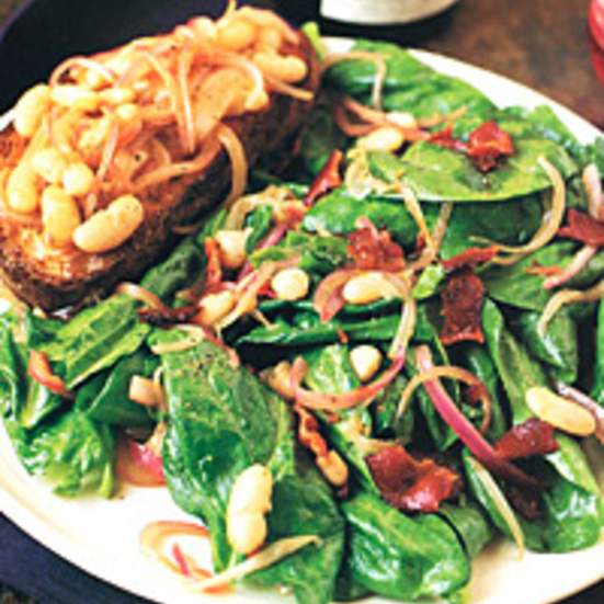 Spinach, White-Bean, and Red-Onion Salad