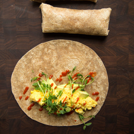 Sriracha, Egg and Avocado Burritos