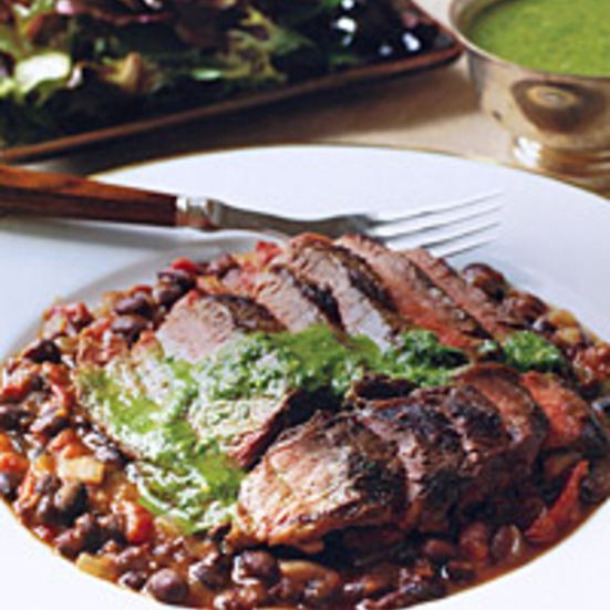 Grilled Steak over Black Beans with Chimichurri Sauce