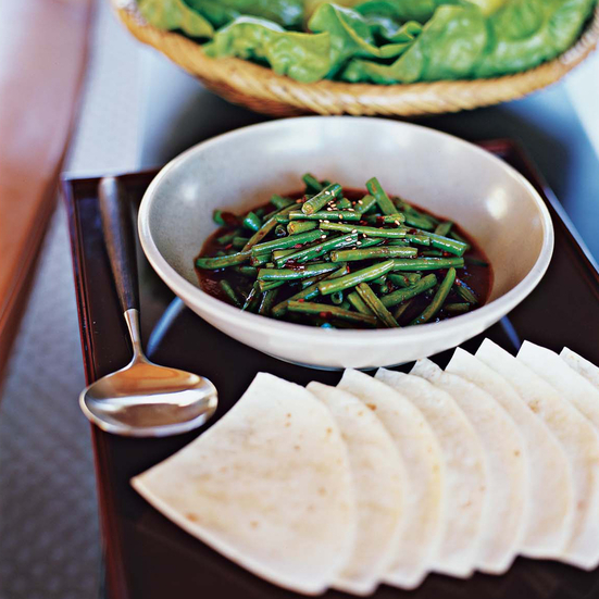 Stir-Fried Green Beans in Tortilla Wraps