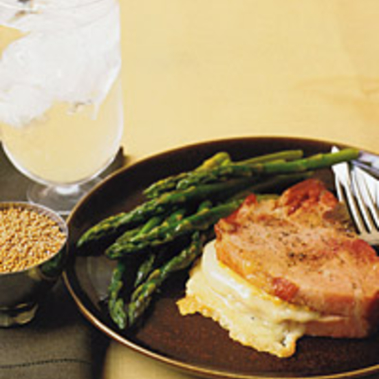 Smoked Pork Chops Stuffed with Gruyère and Mustard